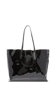Объемная кожаная сумка с короткими ручками Versace