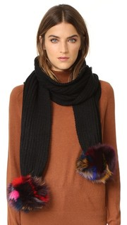 Трикотажный шарф с помпоном из лисьего меха Jocelyn