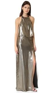 Металлизированное вечернее платье с американской проймой Halston Heritage