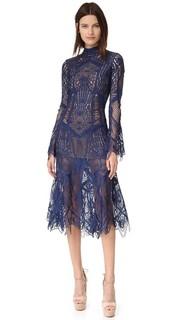 Кружевное расклешенное миди-платье с воротником под горло Jonathan Simkhai