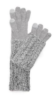 Теплые перчатки ручной вязки косичками для использования смартфонов Rebecca Minkoff
