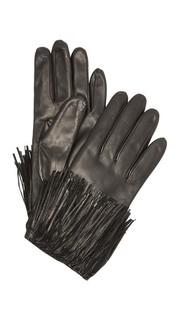 Кожаные перчатки с бахромой для использования смартфонов Diane von Furstenberg