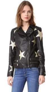 Кожаная куртка со звездами Scotch & Soda/Maison Scotch