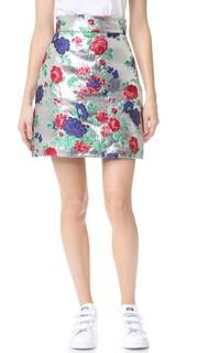 Металлизированная юбка с цветочным рисунком Msgm