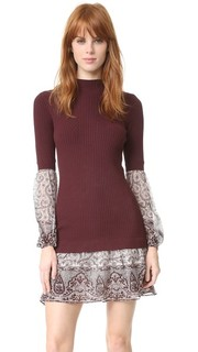 Комбинированное вязаное платье-рубашка Veronica Beard