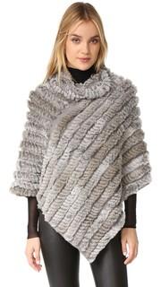 Вязаное пончо из меха Adrienne Landau