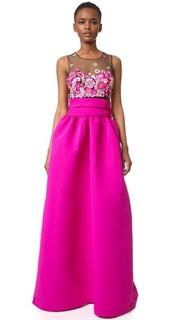 Вечернее бальное платье с вышивкой и карманами Marchesa Notte