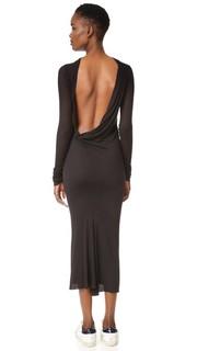 Платье с длинными рукавами и открытой спиной Rick Owens Lilies
