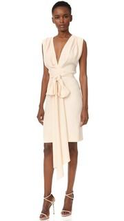 Короткое платье с глубоким V-образным вырезом и поясом Tome
