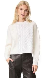 Пуловер в полоску с округлым вырезом и вязкой косичками Alexander Wang
