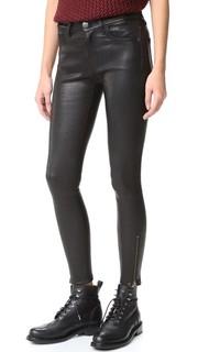 Кожаные брюки-дудочки Current/Elliott