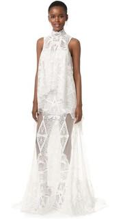 Многослойное кружевное вечернее платье Jonathan Simkhai