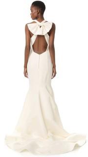Вечернее платье из плотной шелковой ткани Marchesa