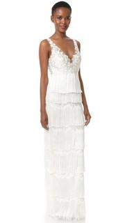 Вечернее платье с бахромой и вышивкой на лифе Marchesa Notte