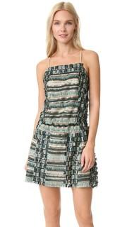 Платье с блестками, бахромой и перекрещивающимся бретельками на спине Anna Sui