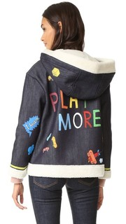 Куртка из денима с нарисованными вручную изображениями и надписью «Play More» Mira Mikati