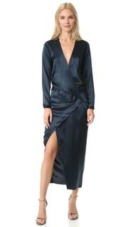Вечернее платье с запахом и длинными рукавами Michelle Mason