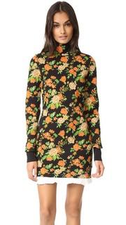 Платье-свитер с цветочным рисунком и воротником под горло Msgm