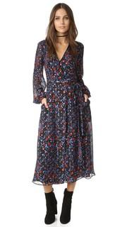 Платье-халат с цветочным рисунком в фольклорном стиле и открытой спиной Cynthia Rowley