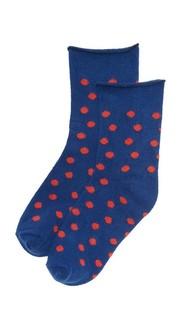 Тонкие носки из флиса в горошек с отворотами Plush