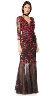 Вечернее платье с вышивкой ришелье Marchesa Notte