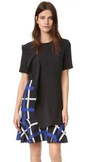 Асимметричное мини-платье со скульптурной оборкой Edit