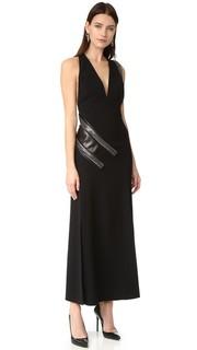 Вечернее платье с кожаной вставкой и цепочками панцирного плетения Mugler