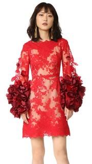 Коктейльное платье с цветами из органзы Marchesa