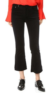 Бархатные укороченные расклешенные джинсы Rag & Bone/Jean