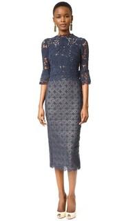 Комбинированное платье-футляр с длинными рукавами Monique Lhuillier