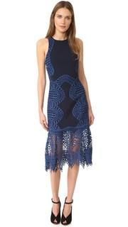 Платье с кружевной отделкой и американской проймой Jonathan Simkhai
