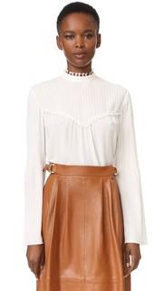 Блуза с защипами и длинными рукавами Derek Lam