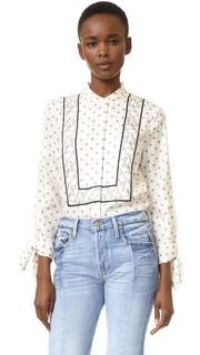 Блуза с принтом в стиле шарфа и завязками на рукавах 3.1 Phillip Lim