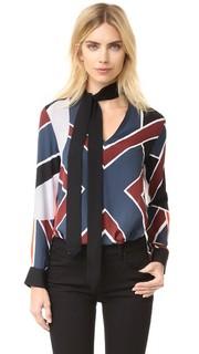 Блуза с завязкой на шее и цветными блоками Edun
