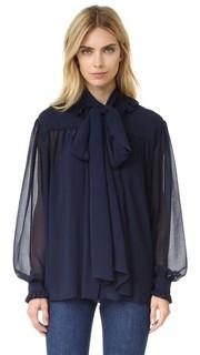 Блуза из шифона с оборками на вырезе See by Chloe