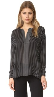 Блуза с потайной планкой в полоску Vince