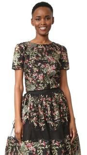 Блуза с цветочным и лиственным рисунком Marchesa