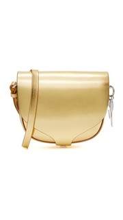 Миниатюрная седельная сумка из металлизированной кожи Sophie Hulme