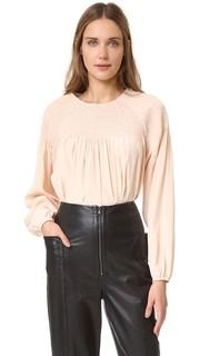 Шелковая блуза со сборками Tibi