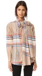 Рубашка в клетку с завязками на вырезе Suno