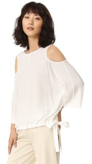 Шелковая блузка с вырезами на рукавах Tibi