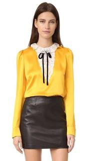 Блуза из шелка и кружева с завязками The Kooples