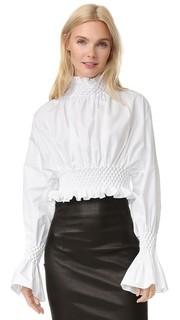 Блуза из ткани в рубчик с высоким вырезом и оборками Kenzo