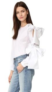 Блуза из ткани в рубчик Clu