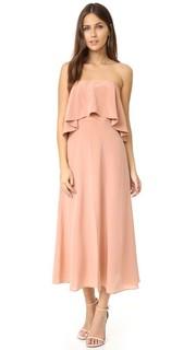 Шелковое платье без бретелек с оборкой Zimmermann