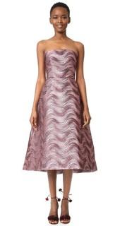 Миди-платье без бретелек Monique Lhuillier