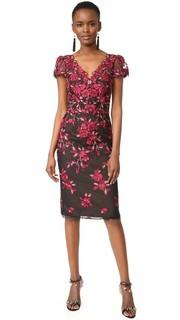 Платье-футляр с вышивкой ришелье Marchesa Notte