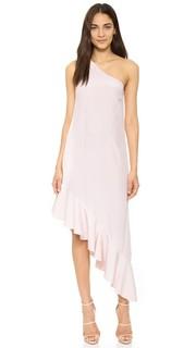 Платье с открытым плечом и оборками Cynthia Rowley