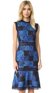 Кружевное платье-футляр с принтом Sea