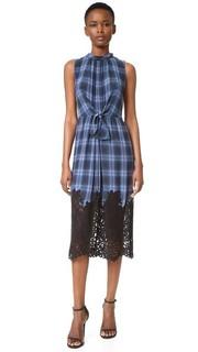 Платье без рукавов с клетку с кружевными вставками Rebecca Taylor